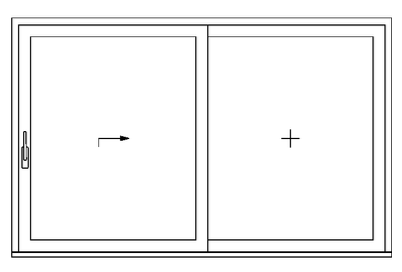 Double pane option with moving left hand and fixed right hand sash