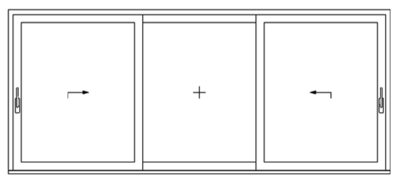 3 pane option with moving left and right hand sash, along with fixed middle sash